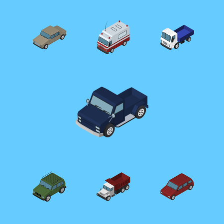 delivery truck: Isometric Car Set Of Armoured, Freight, Car And Other Vector Objects.