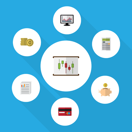Flat Icon Gain Set Of Calculate, Cash, Chart And Other Vector Objects. Also Includes Paper, Graph, Bank Elements.