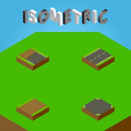 Isometric Way Set Of Footpath, Driveway, Crossroad And Other Vector Objects. Also Includes Single, Intersection, Footpath Elements. Illustration
