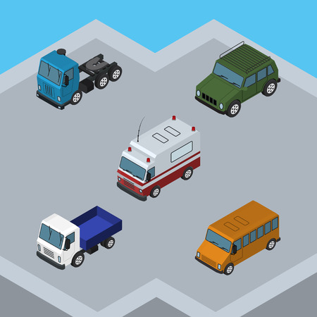 Isometric Car Set Of Armored, Truck, Lorry And Other Vector Objects