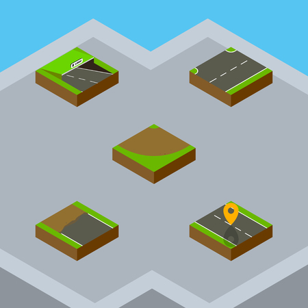 Isometric Road Set Of Upwards, Navigation, Turn And Other Vector Objects