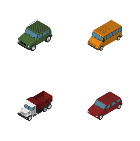 Isometric Transport Set Of Car, Armored, Freight And Other Vector Objects