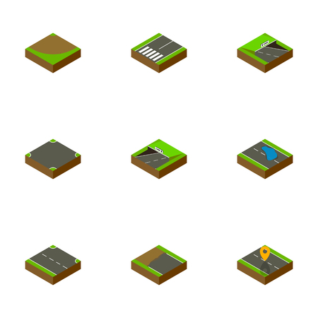 Isometric Way Set Of Rightward, Subway, Crossroad And Other Vector Objects