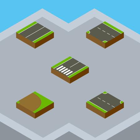 아이소 메트릭 웨이 승자, 회전, 비행기 및 기타 벡터 객체의 설정. 또한 오른쪽, 바닥 글, 평면 요소가 포함됩니다.