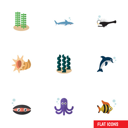 Flat Icon Marine Set Of Tentacle, Playful Fish, Scallop And Other Vector Objects. Also Includes Cockleshell, Mollusk, Playful Elements.