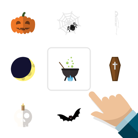 Flat Icon Halloween Set Of Casket, Crescent, Magic And Other Vector Objects. Also Includes Pumpkin, Moon, Gourd Elements.