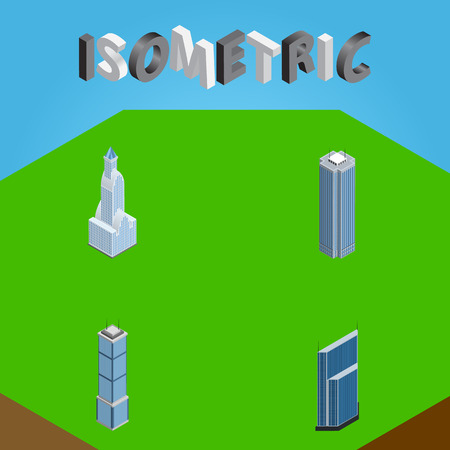 Isometric Building Set Of Residential, Skyscraper, Cityscape And Other Vector Objects Ilustrace