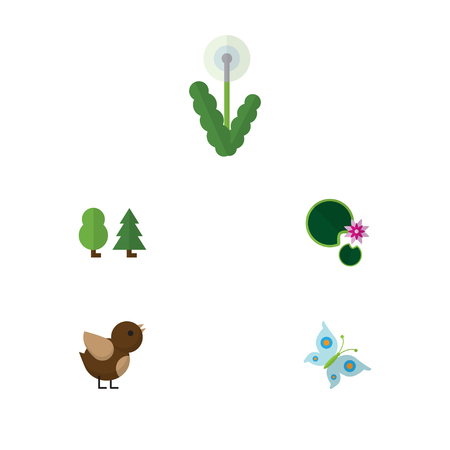 Flat Icon Ecology Set Of Floral, Bird, Lotus And Other Vector Objects Illustration