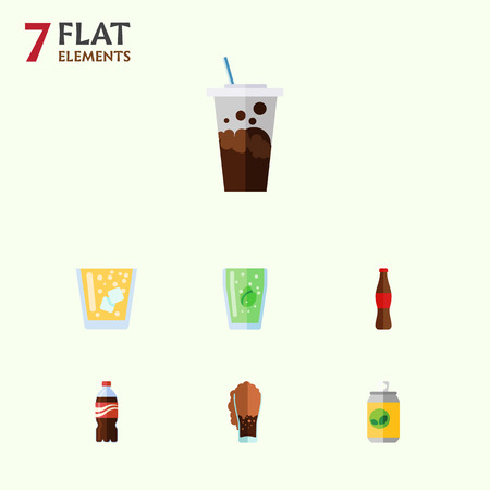 fizz: Flat Icon Drink Set Of Bottle, Soda, Carbonated And Other Vector Objects