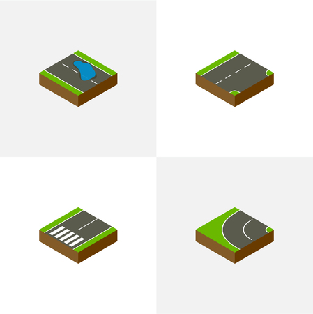 Isometric Way Set Of Footpassenger, Way, Down And Other Vector Objects. Also Includes Puddle, Bitumen, Asphalt Elements.