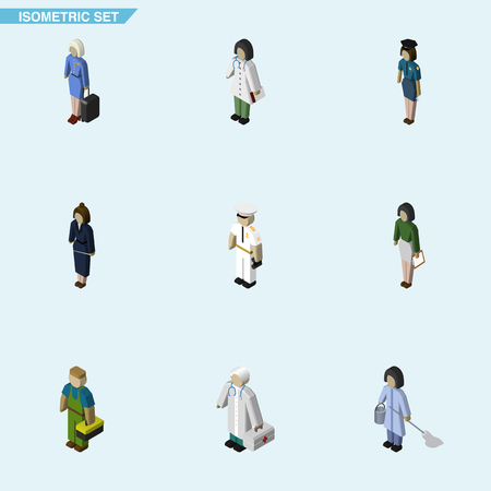 Isometric Person Set Of Housemaid, Hostess, Pedagogue And Other Vector Objects. Also Includes Stewardess, Housekeeper, Nurse Elements.