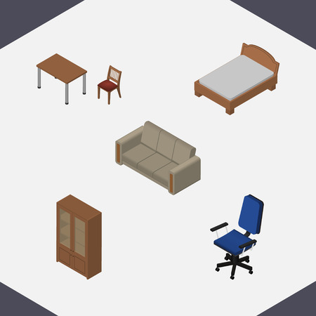 Isometric Design Set Of Couch, Bedstead, Cabinet And Other Vector Objects. Also Includes Armchair, Furniture, Table Elements.