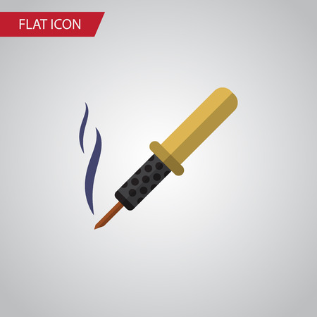 Isolated Soldering Iron Flat Icon. Repair Vector Element Can Be Used For Soldering, Iron, Copper Design Concept. Illustration