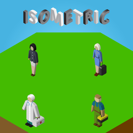 Isometric Person Set Of Plumber, Girl, Medic And Other Vector Objects. Also Includes Stewardess, Medic, Woman Elements.