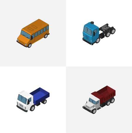 Isometric Transport Set Of Truck, Lorry, Autobus And Other Vector Objects. Also Includes Transport, Motor, Auto Elements.