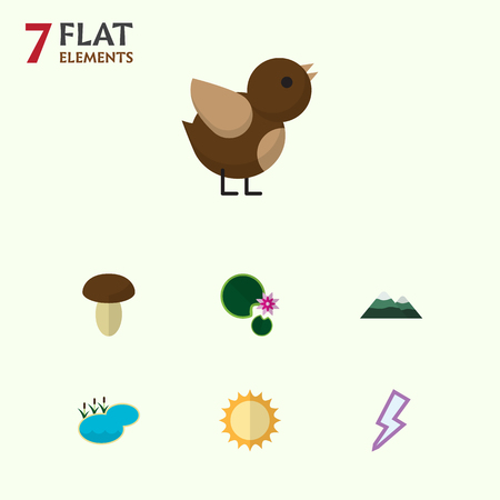 Flat Icon Nature Set Of Bird, Lightning, Solar And Other Vector Objects. Also Includes Pinnacle, Lily, Lake Elements.