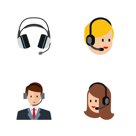 narrator: Flat Icon Center Set Of Service, Earphone, Hotline And Other Vector Objects. Also Includes Human, Earphone, Center Elements.