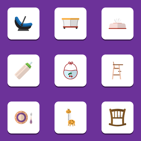 Flat Icon Kid Set Of Feeder, Toy, Infant Cot And Other Vector Objects. Also Includes Baby, Bib, Dish Elements.