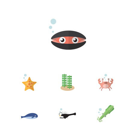 Flat Icon Sea Set Of Cachalot, Seaweed, Sea Star And Other Vector Objects