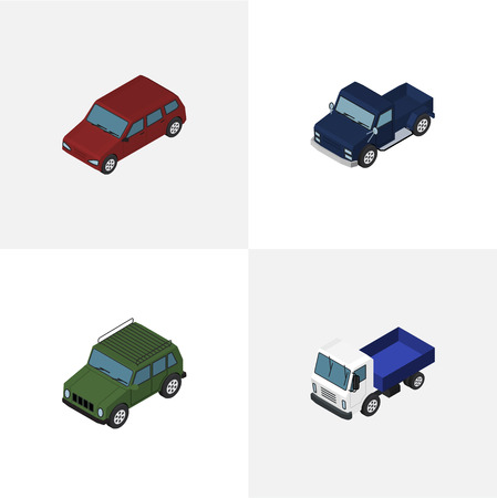 Isometric Automobile Set Of Armored, Lorry, Car And Other Vector Objects Illustration
