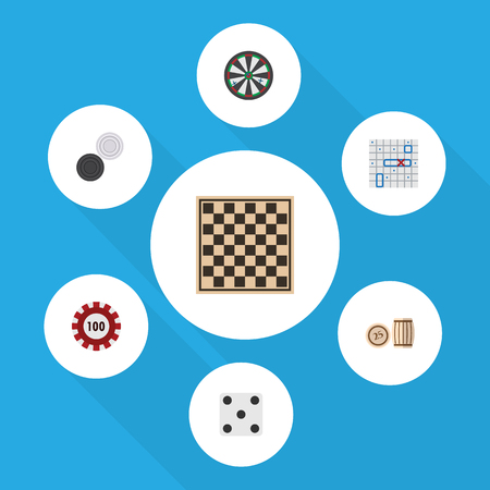 Flat Icon Games Set Of Arrow, Backgammon, Chequer And Other Vector Objects