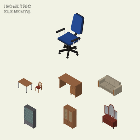 Isometric Furnishing Set Of Office, Couch, Cabinet And Other Vector Objects