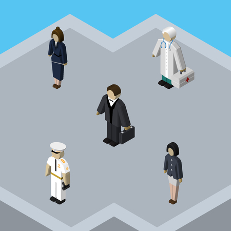 Isometric Person Set Of Medic, Girl, Investor And Other Vector Objects