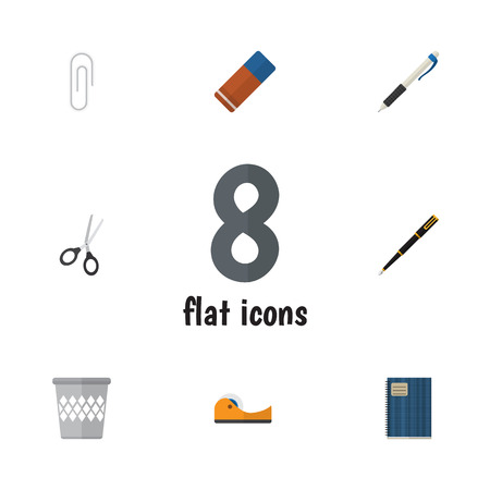 sellotape: Flat Icon Stationery Set Of Rubber, Duct, Pencil And Other Vector Objects. Also Includes Scissors, Clippers, Pencil Elements.