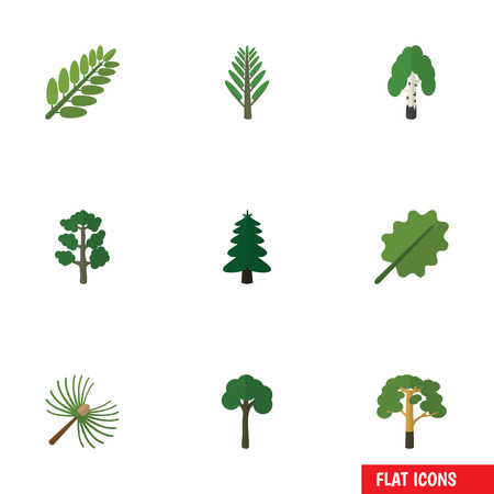 Flat Icon Bio Set Of Forest, Jungle, Alder And Other Vector Objects. Also Includes Acacia, Timber, Alder Elements. Illustration