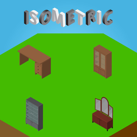 reflection in mirror: Isometric Furniture Set Of Table, Drawer, Cabinet And Other Vector Objects. Also Includes Cupboard, Sideboard, Cabinet Elements.
