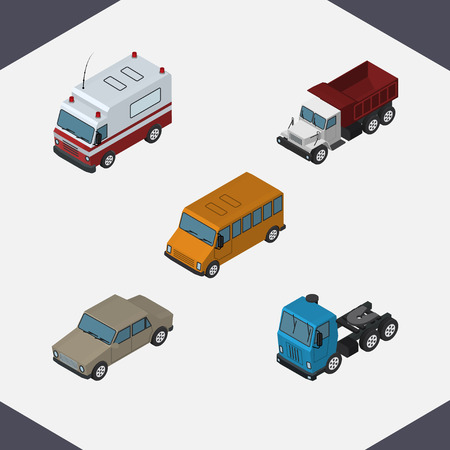 truck: Isometric Automobile Set Of Truck, Auto, First-Aid And Other Vector Objects. Also Includes Sedan, Aid, Ambulance Elements.