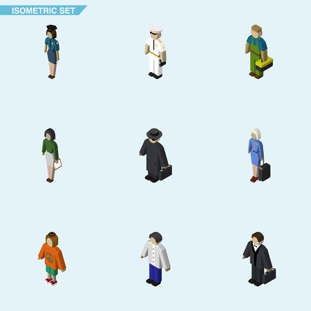 男性、女性警察官、船員および他のベクトル オブジェクトの等尺性人セット。女性, ホステス, 人間の要素も含まれています。
