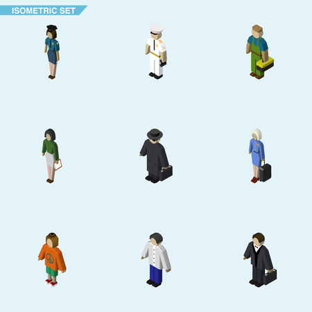 Isometric Person Set Of Male, Policewoman, Seaman And Other Vector Objects. Also Includes Lady, Hostess, Human Elements.
