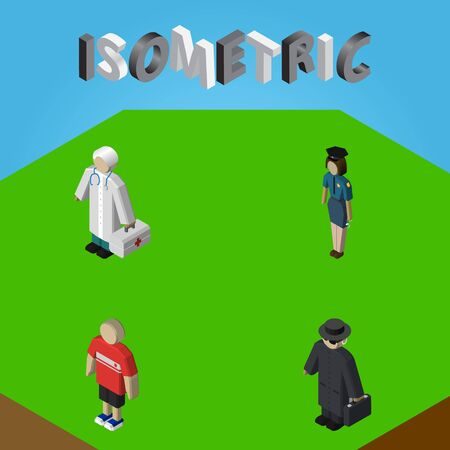 Isometric People Set Of Detective, Policewoman, Guy And Other Vector Objects. Also Includes Policewoman, Boy, Hospital Elements.