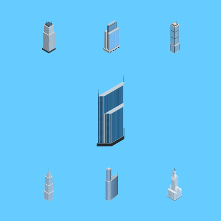 Isometric Building Set Of Building, Urban, Tower And Other Vector Objects. Also Includes Skyscraper, Building, Tower Elements.