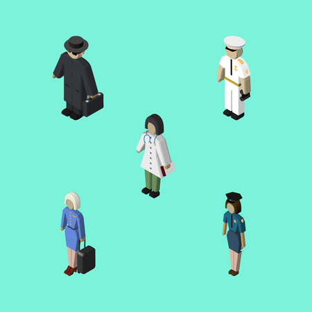 gun control: Isometric Human Set Of Doctor, Hostess, Seaman And Other Vector Objects. Also Includes Agent, Medic, Policewoman Elements. Illustration