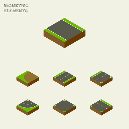 unilateral: Isometric Road Set Of Cracks, Without Strip, Downward And Other Vector Objects. Also Includes Unilateral, Strip, Bitumen Elements.