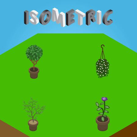 Isometric Plant Set Of Tree, Blossom, Flower And Other Vector Objects. Also Includes Blossom, Flowerpot, Hanging Elements.