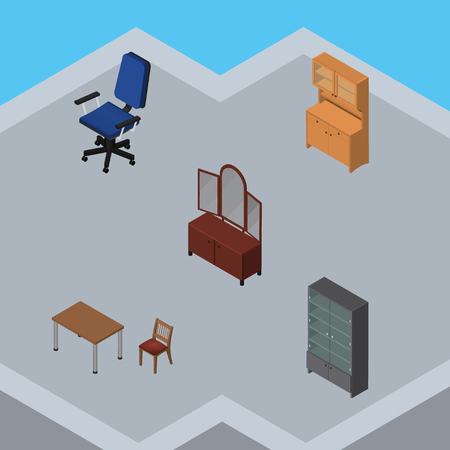 Isometric Furniture Set Of Drawer, Cupboard, Sideboard And Other Vector Objects. Also Includes Furniture, Office, Closet Elements. Illustration