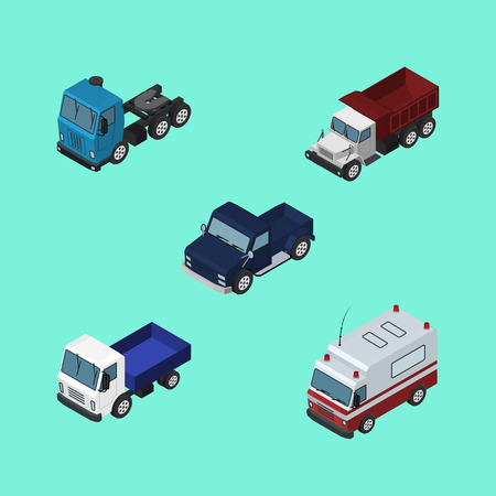 medical drawing: Isometric Transport Set Of First-Aid, Lorry, Truck And Other Vector Objects. Also Includes Motor, Freight, Ambulance Elements.