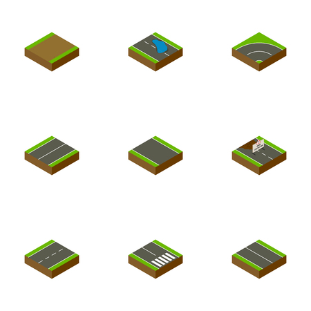 Isometric Road Set Of Repairs, Plash, Bitumen And Other Vector Objects. Also Includes Repairs, Construction, Lane Elements.