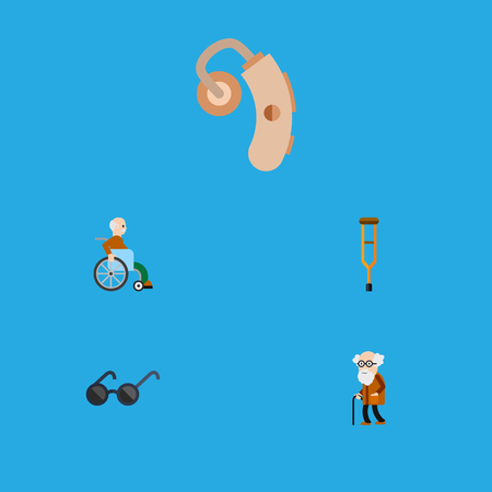 Flat Icon Handicapped Set Of Handicapped Man, Spectacles, Stand Vector Objects. Also Includes Aid, Stick, Audiology Elements.