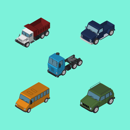 Isometric Automobile Set Of Freight, Autobus, Suv And Other Vector Objects. Also Includes Suv, Car, Lorry Elements. Illustration