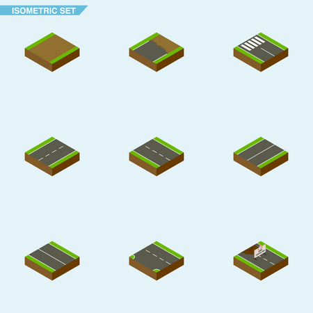 Isometric Way Set Of Repairs, Unfinished, Single-Lane And Other Vector Objects. Also Includes Plane, Down, Incomplete Elements.