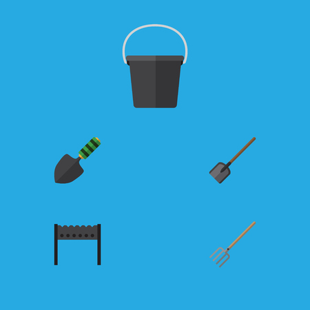 Flat Icon Farm Set Of Shovel, Pail, Barbecue And Other Vector Objects. Also Includes Pail, Brazier, Container Elements. Illustration