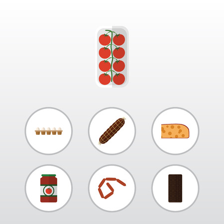 Flat Icon Meal Set Of Bratwurst, Eggshell Box, Ketchup And Other Vector Objects. Also Includes Eggshell, Love, Chocolate Elements.