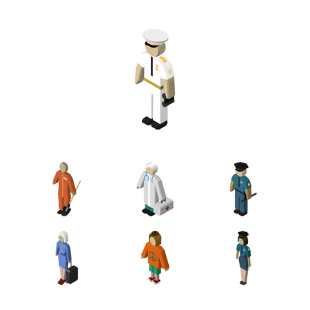 Isometric People Set Of Hostess, Seaman, Lady And Other Vector Objects. Also Includes Lady, Hospital, Female Elements.