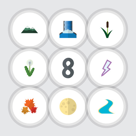 Flat Icon Ecology Set Of Cascade, Floral, Canadian And Other Vector Objects. Also Includes Waterfall, Floral, Storm Elements.