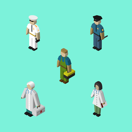 Isometric People Set Of Medic, Officer, Plumber And Other Vector Objects. Also Includes Policeman, Nurse, Sailor Elements.  イラスト・ベクター素材