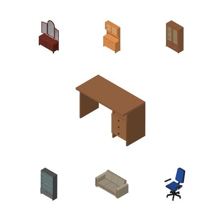 arredamento classico: Set di mobili isometrici di divano, ufficio, armadio e altri oggetti vettoriali. Include anche credenza, armadio, elementi di poltrona.